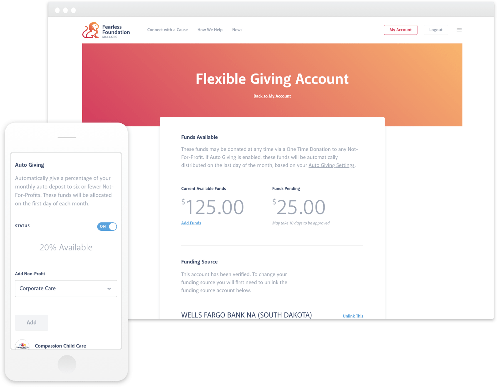 Preview of Flexible Giving Account interface